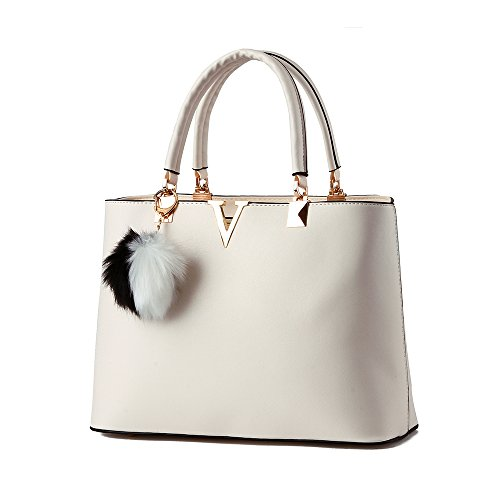 Women Handbag Shoulder Bag Messenger Tote Purse PU Leather (White) - 8
