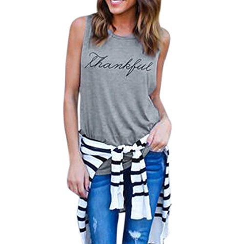 Hot Sale!! Women Tank Tops,Lelili Fashion Round Neck Sleeveless Letter Print Vest Casual Shirt Blouse (L, - 5 Fashion Dollars