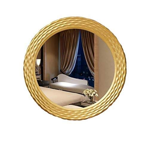 Bathroom Mirror Round Wall-Mounted Pine Wooden Large Frame Modern Simplicity Vanity Mirror with Wall Hanging Fixing Hardware Golden 50CM