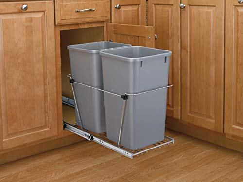 Rev-A-Shelf Double 27 Quart Pullout Waste Containers, Pack of 1, Silver (Track 12 Bracket Dual Shelf)