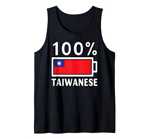 Taiwan Flag Design   100% Taiwanese Battery Power Tee Tank Top (Best Cities To Live In Taiwan)