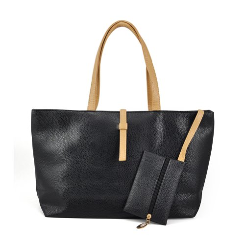 SODIAL(R) - Bolso de tela para mujer negro negro negro - negro
