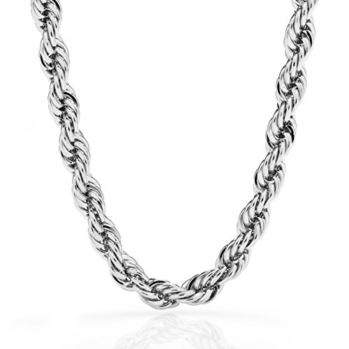 Lifetime Jewelry Rope Chain 7MM, 24K Diamond Cut Fashion Jewelry Necklaces in Yellow or White Gold Over Semi Precious Metals, Hip Hop or Classic, Comes with Box or Pouch, Long - Group Classic Gold