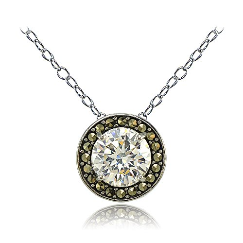 Sterling Silver Cubic Zirconia and Marcasite Halo (Marcasite Set Necklace)