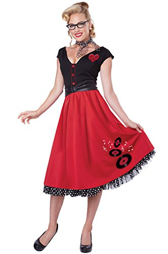 50s Pin Up Costumes (California Costumes Women's Rock N Roll Sweetheart 50's Pin Up Costume, Red/Black, Medium)