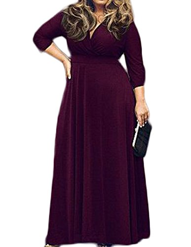 POSESHE Women's Solid V-Neck 3/4 Sleeve Plus Size Evening Party Maxi Dress – Large, Purple