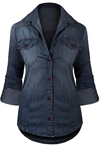 HOT FROM HOLLYWOOD Women's Long Sleeve Western Button Up Casual Fitted Denim Washed Tunic Top,Dark Denim_dj104,Large