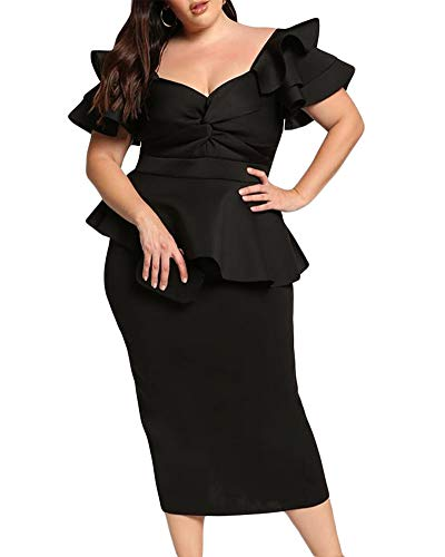 Lalagen Womens Plus Size Ruffle Sleeve Peplum Cocktail Party Pencil Midi Dress Black XXL