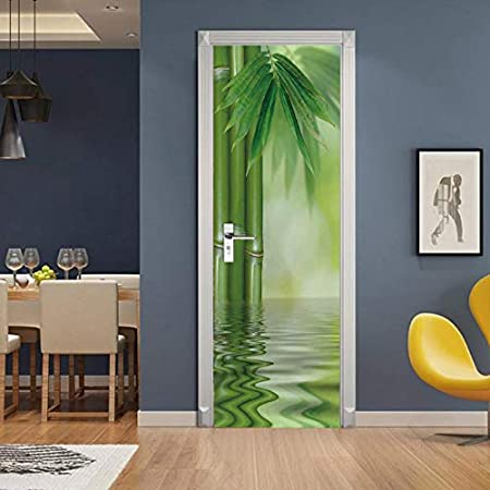 Stickers Per Ante Armadio.Laonieshangmao Door Stickerslandscape Sliding Wardrobe On The Doors Bamboo Waterfall Pvc Removable Self Adhesive Waterproof Poster Wallpaper 77x200cm Amazon Co Uk Kitchen Home
