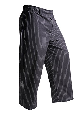Mercer Culinary M60030BFP1X Millennia Men's Black Cook Pants with White Fine Pinstripe, X-Large