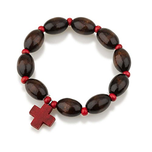 Marina Jewellery Genuine Wood Polished 10mm Bead Rosary Bracelet with Red Wooden Cross Pendant