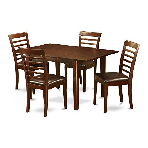 East West Furniture PSML5-MAH-LC 5 Piece Kitchen Nook Dining Table Set with with Faux Leather Seat, Mahogany Finish
