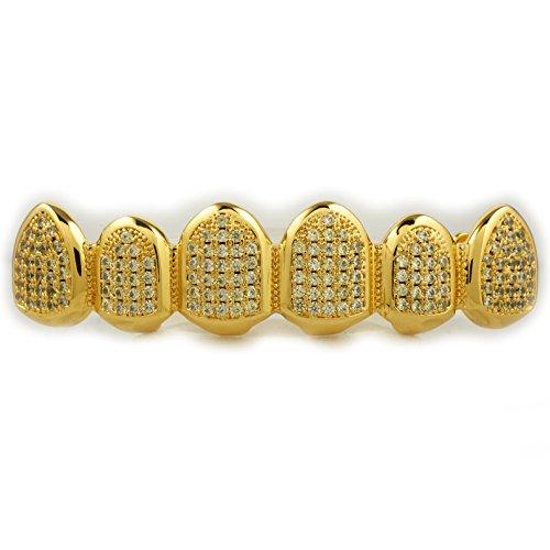 18K Gold Plated Canary CZ Top Bottom CUSTOM GRILLZ SET (T...