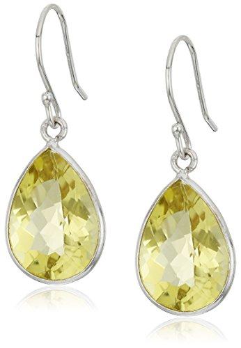Lemon Quartz Pear Dangle Earrings - Quartz Lemon Drop