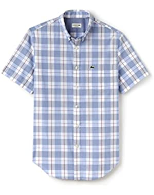 Lacoste Men's Men's Checked Short Sleeve Shirt in Size 42-L Blue