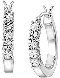 Square Tube Hoop Earrings with Diamonds in Sterling Silver