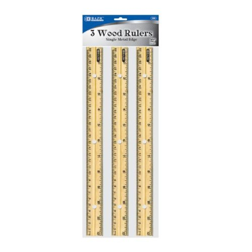 Bazic 12'' (30Cm) Wooden Ruler - 3/Pack [144 Pieces] *** Product Description: Bazic 12'' (30Cm) Wooden Ruler (3/Pack), 3 Wood Rulers. Single Metal Edge, 1/16'' And Metric Scale Features Holes For Use In 3-Ring Binders Case Pack: 144/24 ***