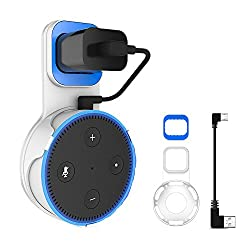 Echo Dot Holder, Portable Wall Mount Hanger Stand for Dot 2nd Generation, A Space-Saving Solution for Your Smart Home Speakers without Messy Wires or Screws(White)