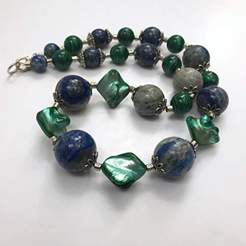 Massive lapis lazuli malachite necklace, 20