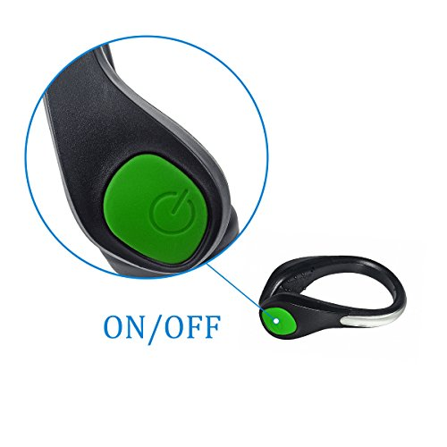 TEQIN Black Shell Green LED Flash Shoe Safety Clip Lights for Runners & Night Running Gear - Reflective Running Gear for Running, Jogging, Walking, Spinning or Biking + Velvet Bag - (Set of 2) by TEQIN (Image #6)