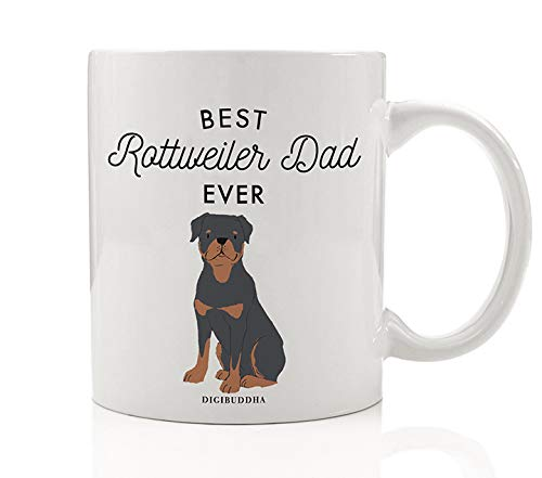 Rottweiler Police Dogs - Best Rottweiler Dad Ever Coffee Mug Gift Idea Daddy Loves Black & Brown Rottie Family Pet Guard Dog Rescue Adoption 11oz Ceramic Tea Beverage Cup Christmas Father's Day Present by Digibuddha DM0506
