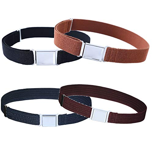 4PCS Kids Boys Adjustable Magnetic Belt - Elastic Belt with Easy Magnetic Buckle (Navy Blue Water Ripple/Wine Water Ripple/Brown/Black)