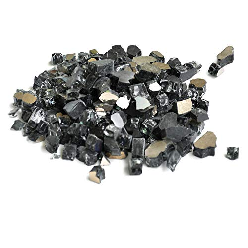 Skyflame 10-Pound Fire Glass for Fireplace Fire Pit and Landscaping, Onyx Black Reflective, 1/2-Inch (Glass Fireplace Black)