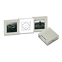 Fold-up Travel Desk Clock With 2 Photo Frames, For 1 3/4 w x 2 h Photos, Silver