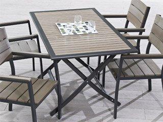 Table de jardin aluminium et bois composite clair DCB Groupe ...