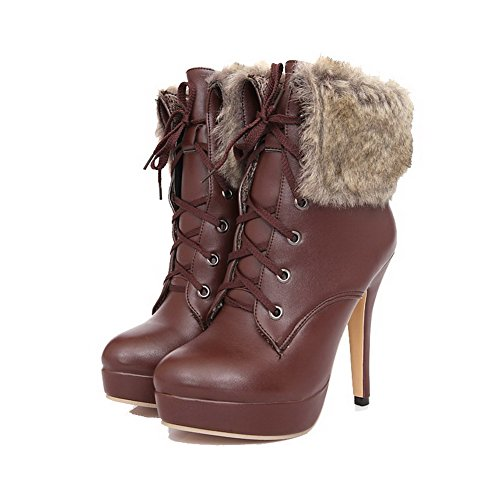 Boots AmoonyFashion Closed up top Brown Heels Toe Low PU High Women's Round Lace rnnWPU1Z