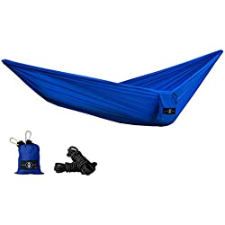LTP Supply Co. Premium Nylon Parachute Double Hammock 100 Inches of Rope and Gold Carabiners included. Great for Travel, Camping, Backpacking, Hiking, or in the Backyard. Camping Hammock- Aurora