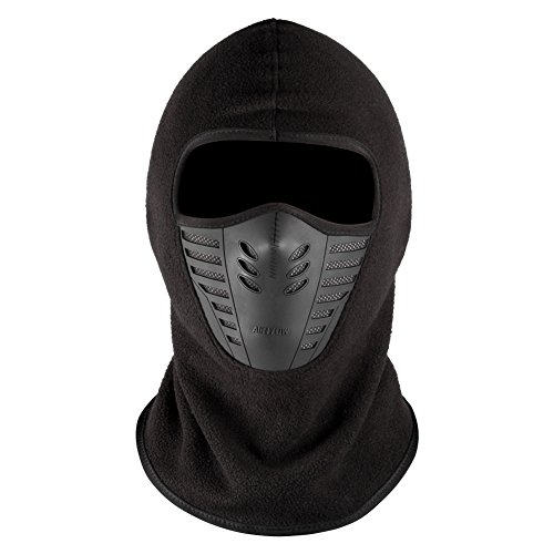 Windproof Ski Balaclava, ICOCOPRO Adult Face Mask Cover Caps Hood Neck Warmer Fleece Liner 3D Design Cycling Hat Headcover For Men / Women-Black Hood Liner Acrylic