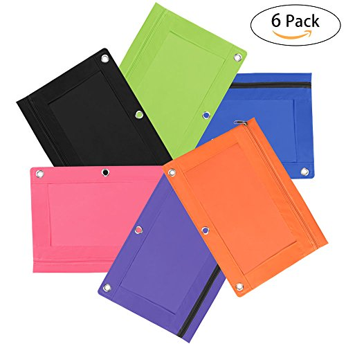Pencil Pouch Zippered Binder Pouch Case 3 Ring with Visible Clear Window 6PCS Oziral Pencil Bag 3 Holes for School Art Office File Document and Project Data Files 6-color (Colored Pencil Ring)