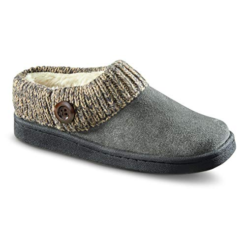 Women's Gray Clog Slippers Button Suede Guide Collar with Gear Sweater xw6gZgq15
