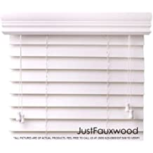 "CBC - Custom 2"" Faux Wood Blinds White w/ Crown Valance - Width: 12.125 (12-1/8) - 18"" by Height: x 20-36"" Size Window Blind"