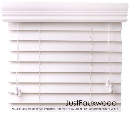 Cbc   Custom 2  Faux Wood Blinds White W  Crown Valance   Width  30 125  30 1 8    36  By Height  X 49 60  Size Window Blind