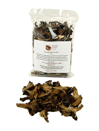 Trumpet Mushrooms - Dried Black Trumpet Mushrooms - 1 Oz. Bag - Dehydrated Edible Gourmet Craterellus Cornucopioides Fungi: AKA Horn of Plenty Mushroom