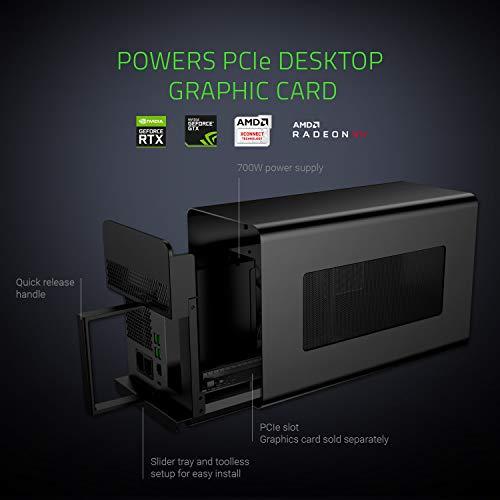 Razer Core X Chroma Aluminum External GPU Enclosure (eGPU): Compatible with Windows & MacOS Thunderbolt 3 Laptops, NVIDIA /AMD PCIe Support, 700W PSU, 4x USB 3.1, 1x Gbit Ethernet, Chroma RGB, Black