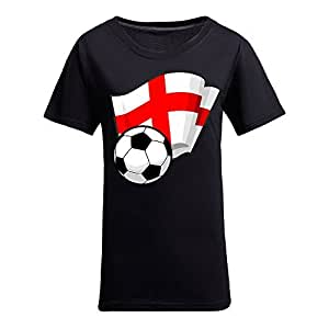Custom Womens Cotton Short Sleeve Round Neck T-shirt with Flags,2014 Brazil FIFA World Cup Soccer Flags Black