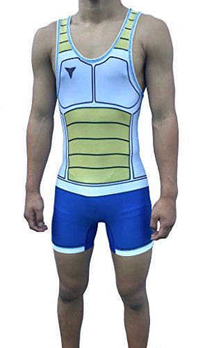 SAIYAN BATTLE ARMOR Wrestling Singlet Youths and adult Mens sizes (Blue Thread, Youth XL: - Made Custom Tri Suits