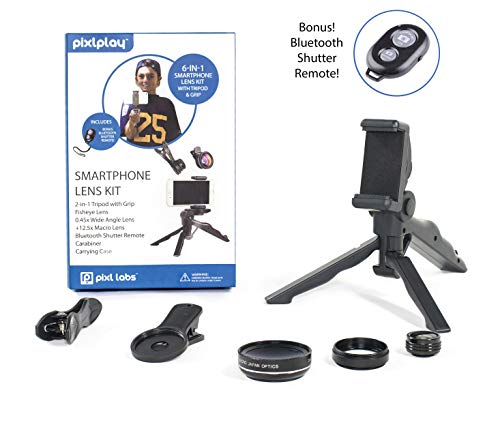 Pixlplay - 6 in 1 Smartphone Camera Lens Kit for iPhone & Android Cell Phone with Tripod/Grip, Bluetooth Shutter Remote, 3 x Lenses (Fisheye + Wide Angle + Macro) & Accessory Case by Pixlplay