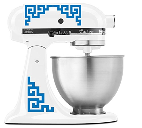 (Japanese Traditional Medallion Pattern - Vinyl Decal Set for Kitchen Mixers - Sky Blue)