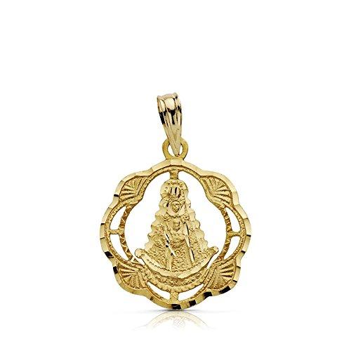 Médaille pendentif or 18k Virgin Rocio tambourin 20mm. drag [AA7421]