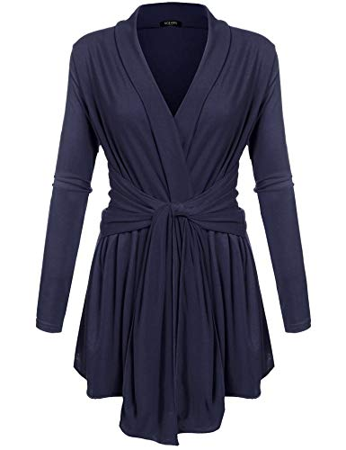 - ACEVOG Women's Outwear Travel Fashion Solid Belted Drape Front Cable Knit Cardigan Dark Blue XXXL