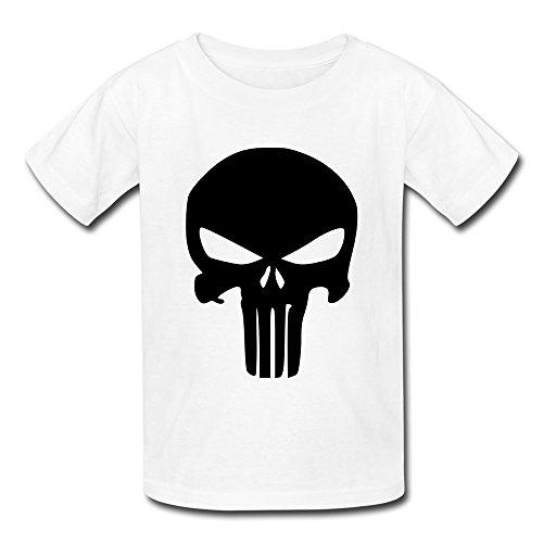 RenHe Kid's Geek The Punisher T-shirts Size M White