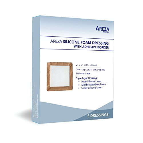 Adhesive Foam Dressing - Silicone Foam Dressing with Border (Adhesive) Waterproof 6