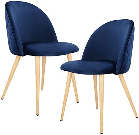 Dining Chairs Set of 2 Mid Century Modern Velvet Kitchen Chairs Wood and Metal Legs Accent Side Chair