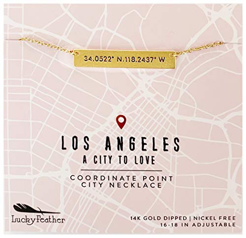 Lucky Feather City Coordinate Bar Necklace - 14K Gold Dipped Horizontal Bar Necklaces for Women with 16