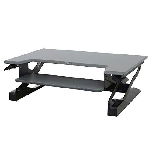 Right Pedestal Workstation Desk (Ergotron WorkFit-T, Sit-Stand Desk Converter | Black, 35