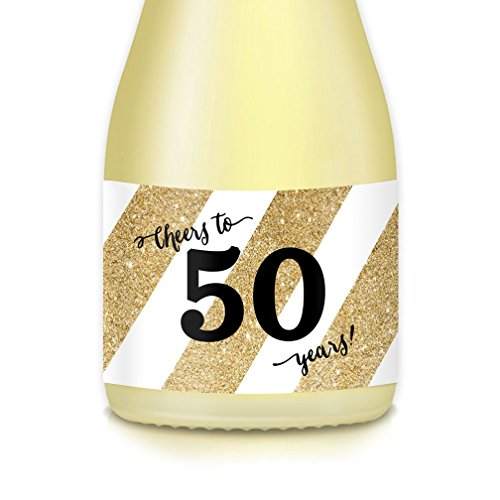 (50th Golden Wedding Anniversary, Ideas for Woman's FIFTIETH Surprise Birthday Party Decorations, Mini Champagne & Wine Bottle Labels, Set of 20 Cheers to FIFTY Years! Wife, Mother, Sister, Grandmom)